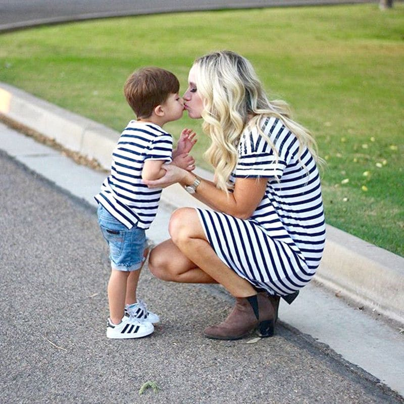 Kneeling and Kissing in Striped shirt